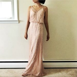 Cache full beaded blush pink evening gown 216A
